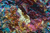 image of iron pyrite  - Crystalnugget gold bronze copper iron. Macro. Extreme closeup