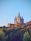 foto of sacred heart jesus  - Temple of the Sacred Heart of Jesus on Tibidabo Mountain in Barcelona Catalonia Spain - JPG