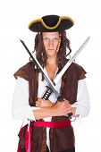pic of pirate sword  - Portrait Of A Young Pirate Holding Sword On White Background - JPG