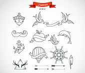 stock photo of dolphins  - Set of modern black and white Tattoo Art elements  - JPG