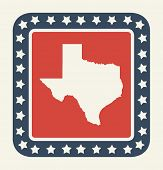 pic of texas state flag  - Texas state button on American flag in flat web design style - JPG