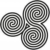 stock photo of talisman  - White and black double spirals are forming a labyrinth and also a celtic symbol - JPG