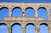 stock photo of aqueduct  - view of the aqueduct of Segovia Castilla Leon Spain - JPG