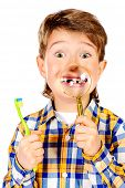 stock photo of tooth gap  - Little funny boy smiling through a magnifying glass - JPG