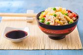 stock photo of pea  - chinese fried rice with peas on white plate - JPG