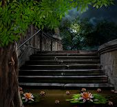picture of moonlit  - Old stone staircase in celebration of Halloween on background of moonlit night - JPG