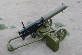 stock photo of maxim  - WWI Maxim machine gun isolated on white background - JPG