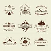 picture of mountain-climber  - Camping mountain adventure hiking explorer equipment labels set isolated vector illustration - JPG