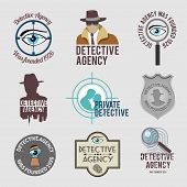 image of private detective  - Police private detective agency labels badges and stamps set isolated vector illustration - JPG