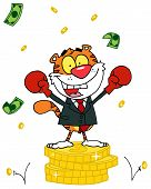 Постер, плакат: Мультфильм характер животных счастливым тигр alated с победы