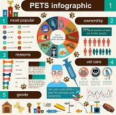 stock photo of vet  - Domestic pets infographic elements helthcare vet - JPG