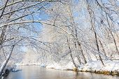 stock photo of snowy hill  - Winter landscape - JPG