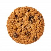 image of baked raisin cookies  - Oatmeal Raisin Cookie isolated on a white background - JPG