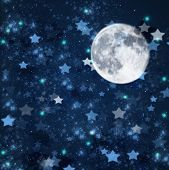 foto of blue moon  - blue christmas  and new years stars  on blue  with full moon  background - JPG