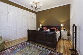 picture of master bedroom  - Vintage big master bedroom with wooden floor - JPG