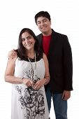 stock photo of east-indian  - Picture of an East Indian woman with her teenage son against a white background - JPG