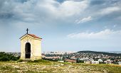 picture of calvary  - Nitra Calvary and City of Nitra in Background on Cloudy Day - JPG