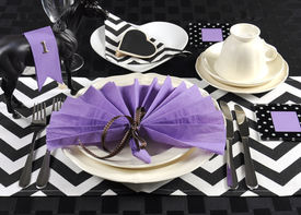 pic of chevron  - Black and white chevron with purple theme party luncheon table place setting for Melbourne Cup Australian public holiday horse race event - JPG