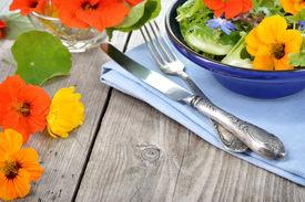 pic of borage  - Fresh summer salad with edible flowers nasturtium borage flowers in a bowl - JPG