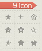 pic of pentagram  - Vector stars icon set on grey background - JPG