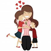 picture of pretty-boy  - A cute brunette girl and boy surprise their mom - JPG