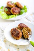 foto of patty-cake  - Fish cakes fried in bran crumbs on plate - JPG