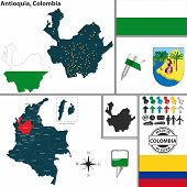 stock photo of medellin  - Vector map of region of Antioquia with coat of arms and location on Colombian map - JPG