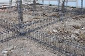 stock photo of reinforcing  - reinforcing steel bars for structure building construction - JPG