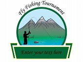 stock photo of fly rod  - Fly fishing tournament card or flyer vector image - JPG
