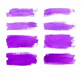 stock photo of violets  - Set of watercolor hand painted stripes - JPG