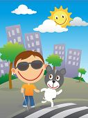 foto of seeing eye dog  - Happy blind child with cane and sunglasses cross the road at a zebra crossing with his quide dog in a sunny day in the city - JPG