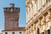 image of vicenza  - Perspective of the medieval tower Porta Castello in Vicenza Italy - JPG