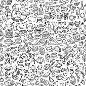 picture of freehand drawing  - doodle food and drinks icons seamless background - JPG
