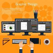 Постер, плакат: Graphic design and designer tools concept