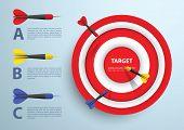 stock photo of bullseye  - Dart and target infographic template Business concept VECTOR EPS10 - JPG