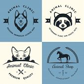 picture of petting  - Set of vintage logo and logotype elements for pet shop pet house pet and exotic animals clinic - JPG