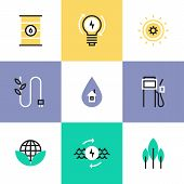 stock photo of hydro  - Flat line icons of green energy efficiency development effective electricity consumption solar and oil source production - JPG