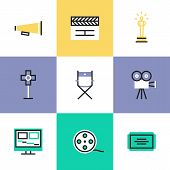 stock photo of production  - Flat line icons of video production and media post - JPG