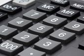 picture of keypad  - Closeup photo of calculator keypad gray buttons - JPG