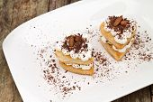 image of nack  - hearts of puff pastry with cream and chocolate - JPG