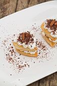 picture of nack  - Puff pastry with chocolate and whipped cream - JPG