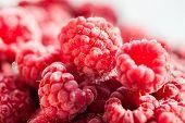 stock photo of berries  - Frozen raspberry berries - JPG