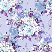 image of blue rose  - Blue Floral Seamless Watercolor Background with Roses - JPG