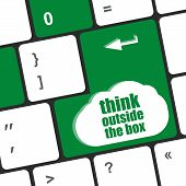 picture of thinking outside box  - think outside the box words message on enter key of keyboard - JPG