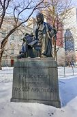 stock photo of tribunal  - A memorial dedicated to Horace Greeley the founder of the New York Tribune in New York CIty.