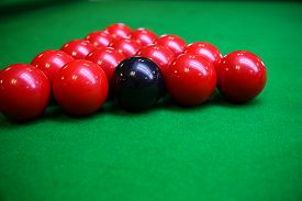 picture of pool ball  - Snooker ball on snooker table - JPG