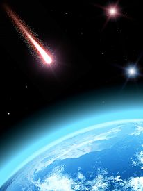 image of comet  - Falling comet and planet earth - JPG