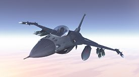 stock photo of fighter plane  - 3D render of fighters plane in the clouds - JPG
