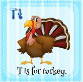 pic of letter t  - Flashcard letter T is for turkey - JPG