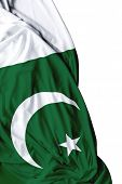 foto of pakistani  - Pakistani waving flag on white background - JPG